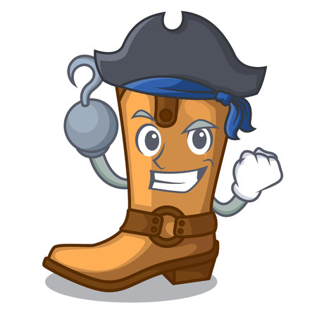Pirate cowboy boots in the shape cartoon vector illustration