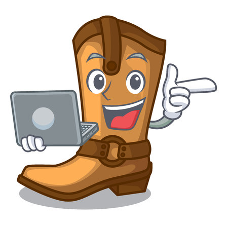 With laptop cowboy boots in the shape cartoon vector illustration