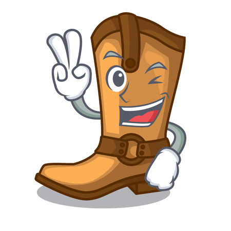 Two finger cowboy boots isolated in the mascot Stock Vector - 114161882