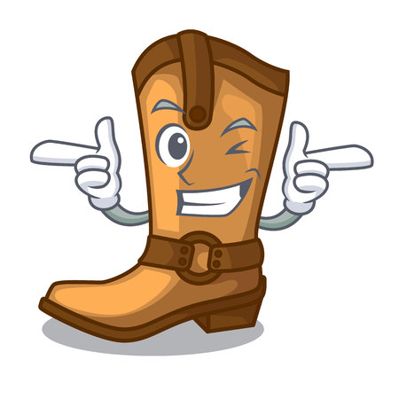 Wink cowboy boots isolated in the mascot