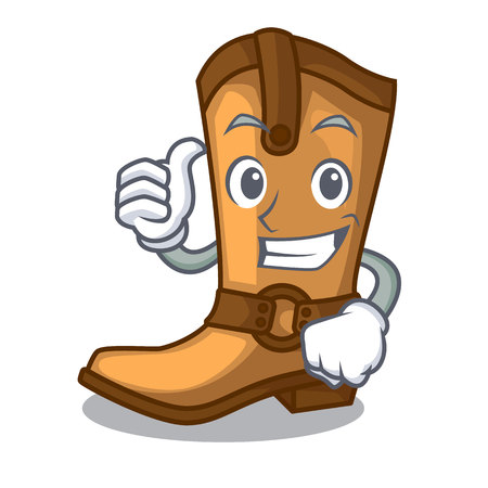 Thumbs up cowboy boots isolated in the mascot Иллюстрация