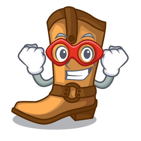 Super hero cowboy boots isolated in the mascot
