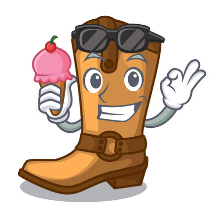 With ice cream cowboy boots isolated in the mascot vector illustration