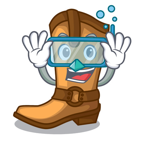 Diving cowboy boots isolated in the mascot vector illustration