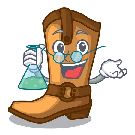 Professor cowboy boots isolated in the mascot vector illustration