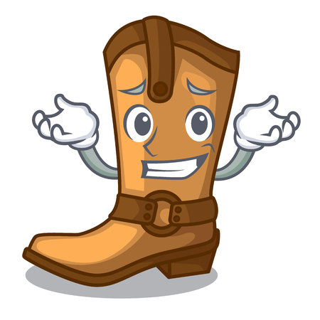 Grinning cowboy boots isolated in the mascot vector illustration