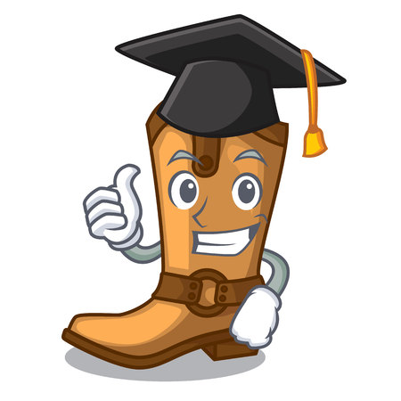 Graduation cowboy boots isolated in the mascot vector illustration