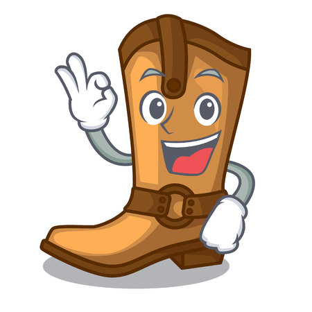 Okay cowboy boots isolated in the mascot vector illustration