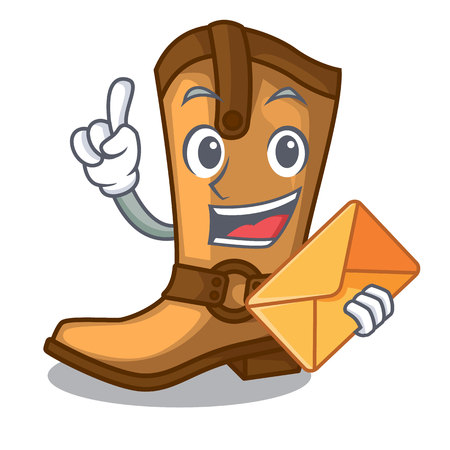 With envelope cowboy boots isolated in the mascot vector illustration
