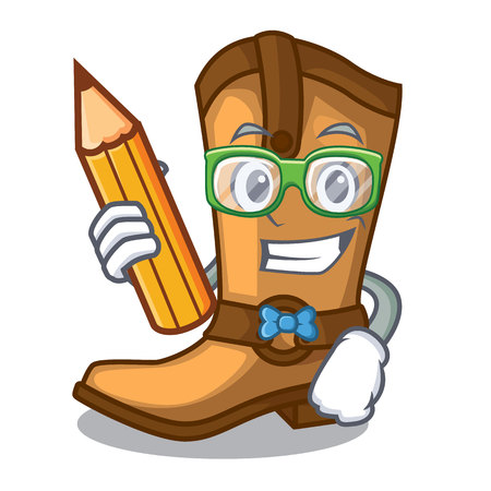 Student cowboy boots isolated in the mascot vector illustration