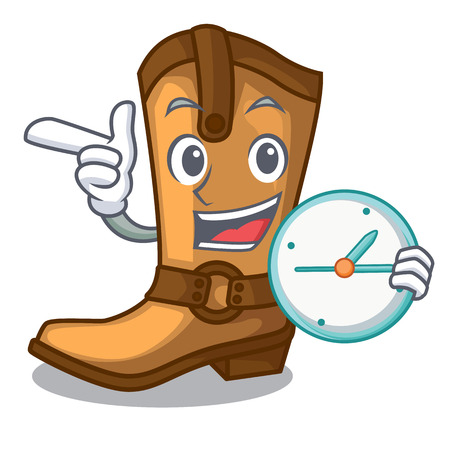 With clock cowboy boots isolated in the mascot vector illustration
