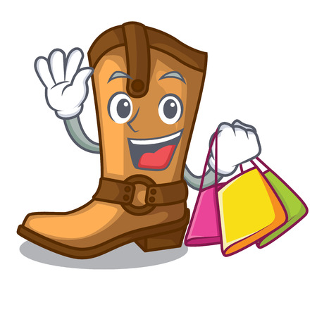 Shopping cowboy boots isolated in the mascot vector illustration