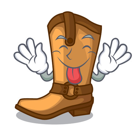 Tongue out leather cowboy boots shape cartoon funny vector illustration