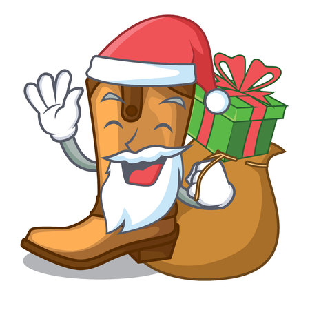 Santa with gift leather cowboy boots shape cartoon funny vector illustration Illustration