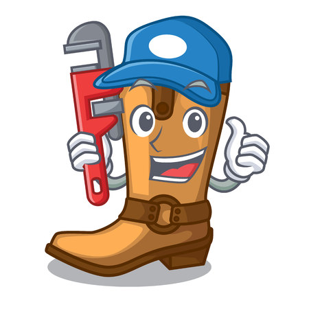 Plumber leather cowboy boots shape cartoon funny vector illustration