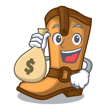 With money bag cowboy boots in the shape cartoon vector illustration Illusztráció