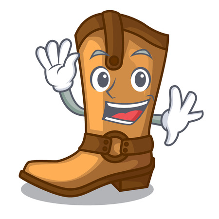 Waving cowboy boots isolated in the mascot vector illustration Vector Illustration