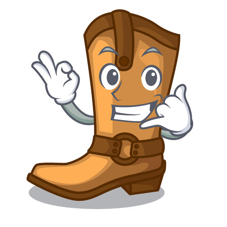 Call me leather cowboy boots shape cartoon funny vector illustration