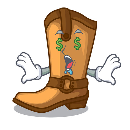 Money eye leather cowboy boots shape cartoon funny vector illustration