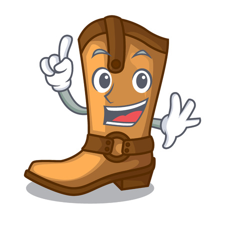 Finger leather cowboy boots shape cartoon funny vector illustration Illustration