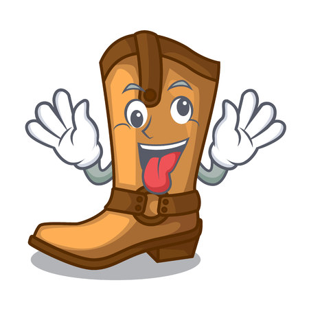 Crazy leather cowboy boots shape cartoon funny vector illustration