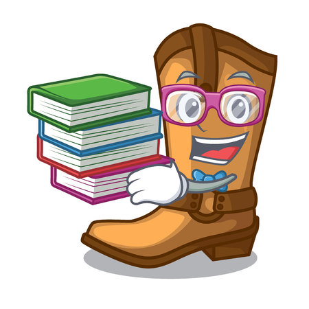 Student with book leather cowboy boots shape cartoon funny vector illustration