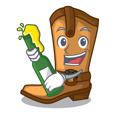 With beer leather cowboy boots shape cartoon funny vector illustration