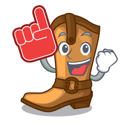 Foam finger leather cowboy boots shape cartoon funny vector illustration