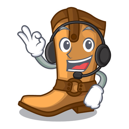 With headphone leather cowboy boots shape cartoon funny vector illustration