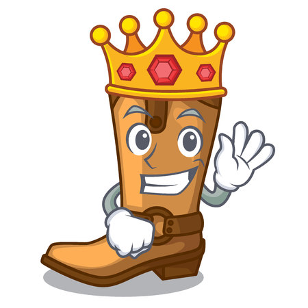 King leather cowboy boots shape cartoon funny vector illustration Illustration