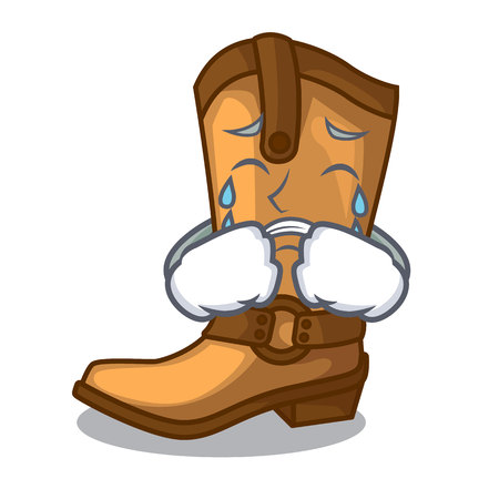Crying old cowboy boots in shape character vector illustration