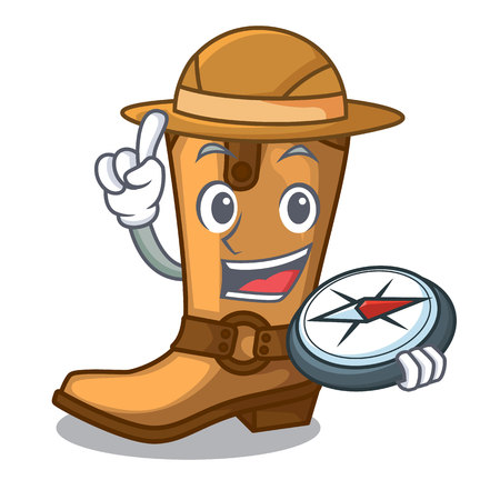Explorer old cowboy boots in shape character vector illustration