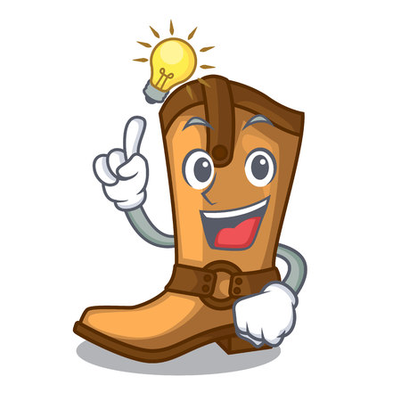 Have an idea leather cowboy boots shape cartoon funny vector illustration
