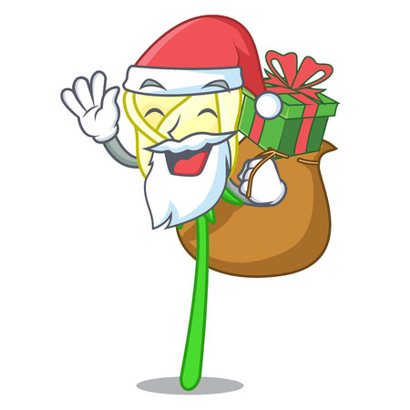 Santa with gift beautiful white rose on the cartoon vector illustration
