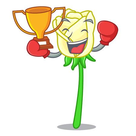 Boxing winner beautiful white rose on the cartoon vector illustration