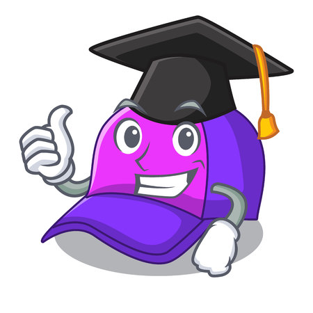 Graduation isolated cap in the a mascot vector illustration