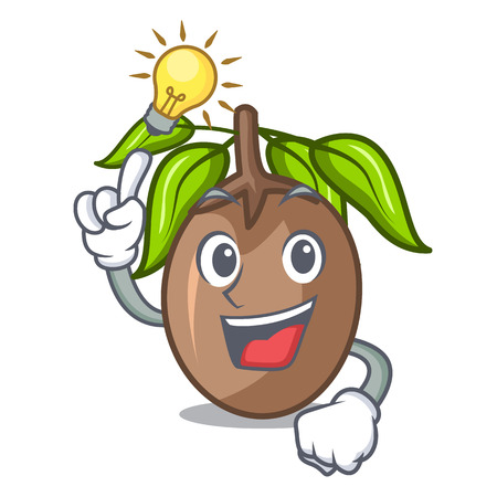 Have an idea slice sapodilla fruit on shape cartoon
