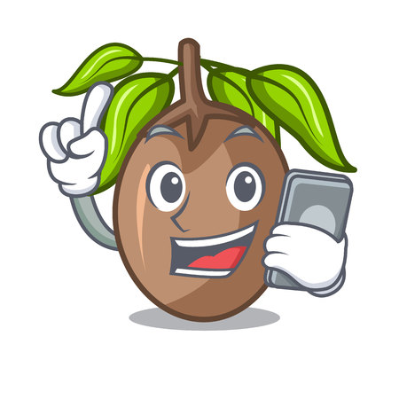With phone sapodilla fruit on the character bowl Illustration