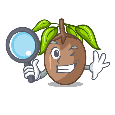 Detective sapodilla fruit isolated on the mascot
