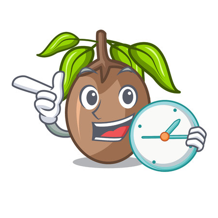With clock sapodilla fruit isolated on the mascot Illustration
