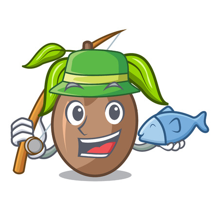 Fishing sapodilla fruit cut in shape cartoon