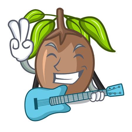 With guitar sapodilla fruit cut in shape cartoon