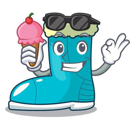 With ice cream winter boots fur isolated on mascot Stock Illustratie