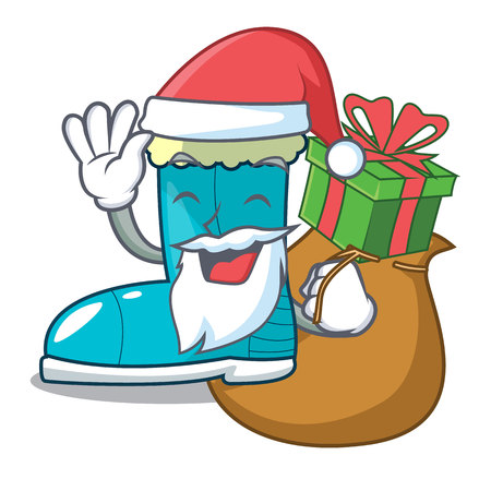Santa with gift winter boot in shape cartoon funny Illustration