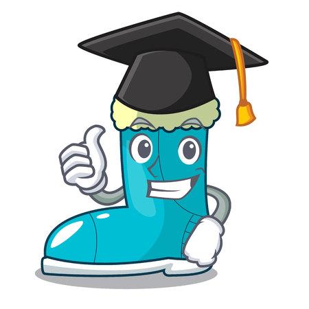 Graduation winter boots fur isolated on mascot