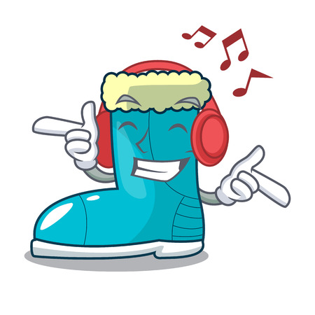 Listening music winter boot on the character