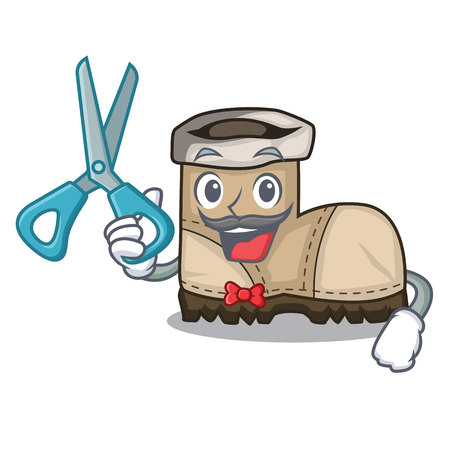 Barber working boots Isolated on the mascot vector illustration