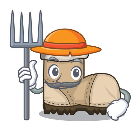 Farmer working boots Isolated on the mascot vector illustration