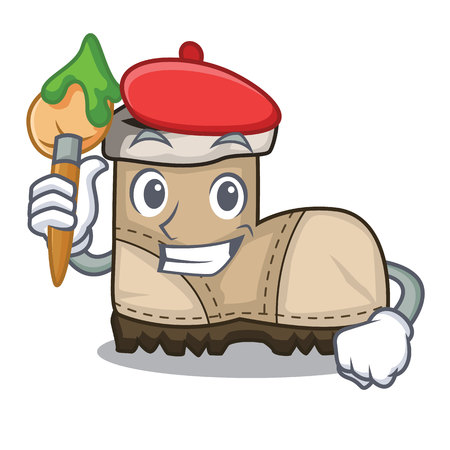 Artist working boots Isolated on the mascot vector illustration