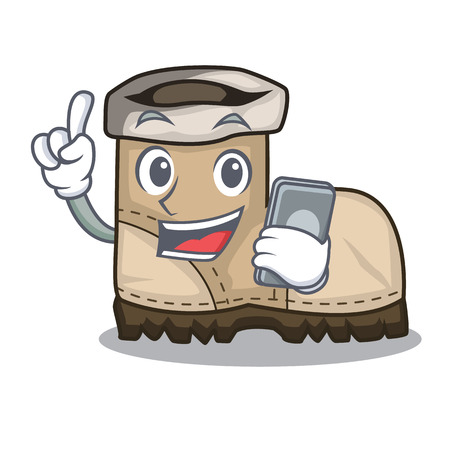 With phone working boots Isolated on the mascot vector illustration